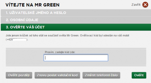 Mr Green registrace - 4
