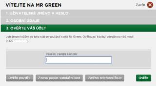 Mr Green registrace - 4