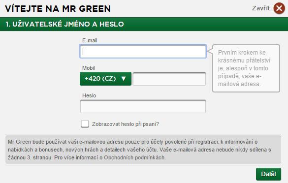 Mr Green registrace 2