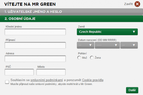 Mr Green registrace 3