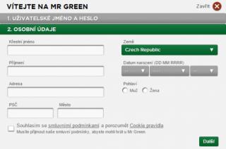 Mr Green registrace 3