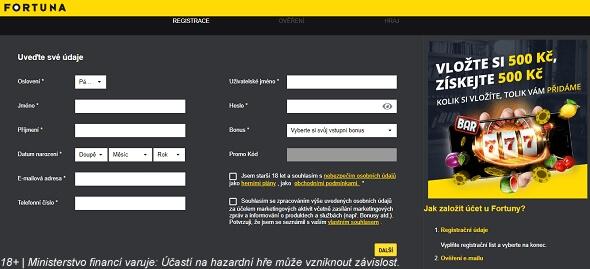 Registrační formulář uFortuny